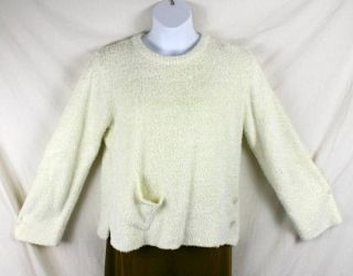 Ivory Fuzzy Warm Thick Artwear Sweater Size L Glenmont