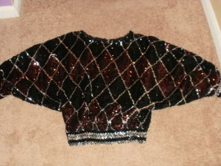 Rob Hill for Mister Jay Black Red & Silver Sequins Raglan Sleeve Lined