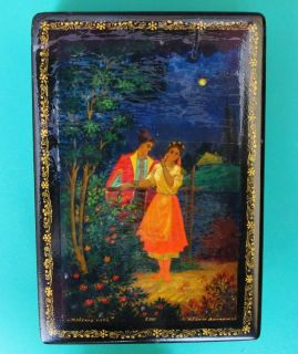 Old LACQUER Box Gogol Stories Kholui Art Painting Big Russian. Signed