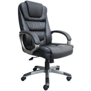 Boss Black Leather Executive Chair Lumbar Tilt Home Office Desk Work