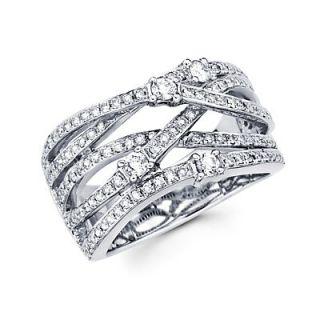 14k White Gold Large Diamond Cross Over Ring Band 66ct