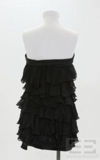Giambattista Valli Black Ruffle Tiered Strapless Top Size 42