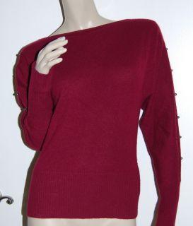 GIANNI BINI Size M Burgundy Maroon 100 Cashmere Cold Shoulder Sweater