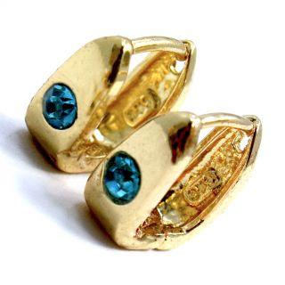 Gold 18K GF Earrings Square Hoop Small Huggie Turquoise Crystal Baby