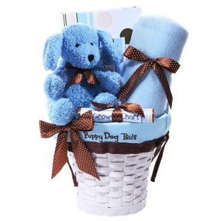 Puppy Dog Baby Boy Newborn Gift Basket w/ Blanket Frame & Growth Chart