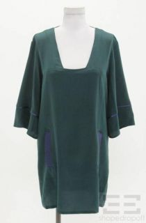 Geren Ford Deep Teal Silk Square Neck Shift Dress Size Medium