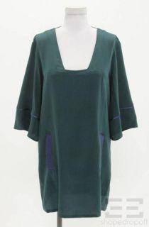 Geren Ford Deep Teal Silk Square Neck Shift Dress Size Medium