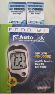 Prodigy No Coding Blood Glucose 100 Test Strips Free Meter