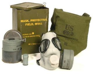 M9A1 Gas Mask Un Issued 1953 Grey Sealed Korea Military Surplus small