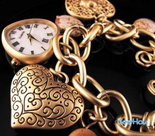 Elegant Lovely Heart Ladies Womens Girls Bangle Quartz Bracelet Wrist