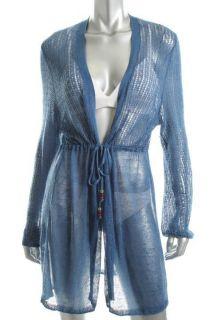 Famous Catalog Moda Blue Linen Crochet Tie Front Long Sleeve Top Cover