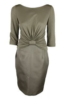 Giambattista Valli Womens Gathered Knot 3/4 Sleeve Ruched Side Dress $