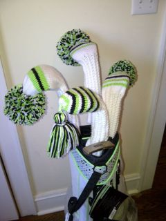 Hand Knit Golf Club Head Covers Set of Four New White Lime Green Black