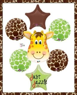 Giraffe Baby Shower Safari Jungle Lime Green Brown Balloon Party