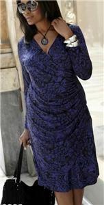 Simply Be Wrap Dress 26 30 Black Purple Animal Plus Size Luxury Jersey