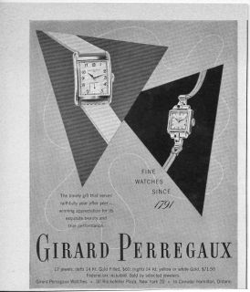 Original 1949 Vintage Ad Girard Perregaux Wrist Watches Ladies Watch .