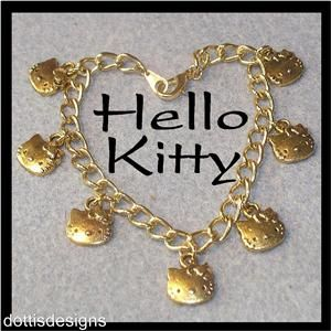 Adorable Hello Kitty Gold Plated Charm Bracelet 7