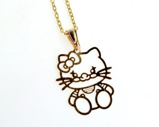 Gold 18K GF Kids Girl Necklace Filigree Hello Kitty Kitten Cat Charm