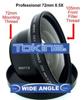 Tokina Pro 0 5X Wide Angle Lens for Canon WD H72 XL2 XL1S XL1 XH A1 XH