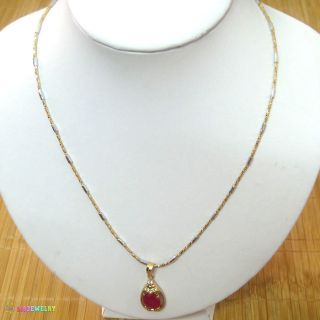 NECKLACES 2*22cm CUTE RED GARNET SILVER&18K GOLD WONDERFUL JEWELRY