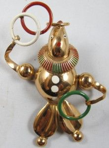 Vtg 1940s Clown Juggling Rings Rose Gold Plated Pin Brooch Sculptural