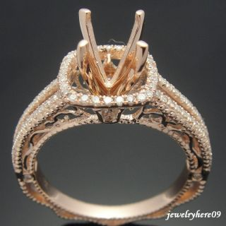 14k ROSE GOLD DIAMOND SEMI MOUNT ENGAGEMENT WEDDING RINGS SETTING