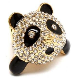 Panda Bear Stretch Ring Black White Crystals Gold Tone Cute New