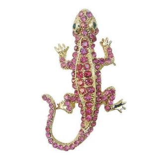 Cute Lizard Gecko Brooch Pin Fuchsia Swarovski Crystal Reptile Animal