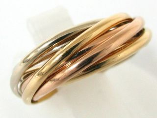 Auth Cartier 18K Tri Color Gold TRINITY RING XXS 7 BANDS w Guarantee