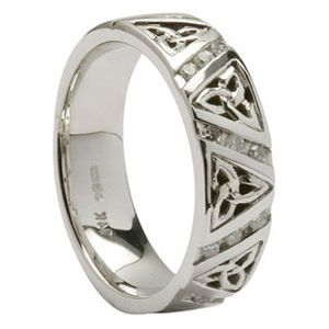 14k White Gold Irish Celtic Trinity Knot Diamond Wedding Ring Size 6 5