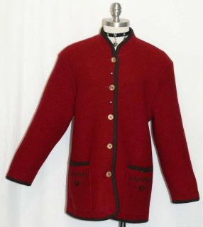 GEIGER RED BOILED WOOL Women AUSTRIA Walk THICK WARM Jacket Sweater 40