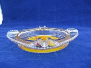 Clear Glass Ashtray Best Western Eastern Motel Painted Googie Sign Red