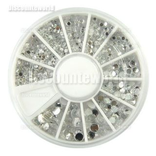 1100X Party Gems 6 Size Clear Round Glitter Nail Art Rhinestones Wheel