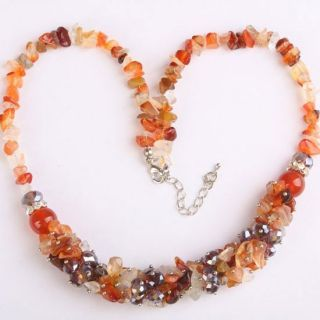 Red Agate Chip Gemstone Crystal Glass Bead Necklace