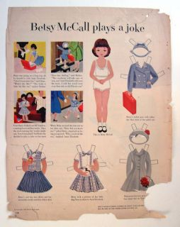 Vintage Betsy McCall Plays A Joke Paper Dolls 1953