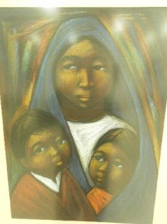 Arturo Nieto 1900 Ecuador Orignal Old Pastel Painting Mother Children