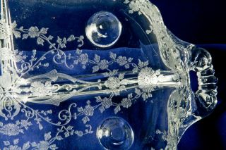Cambridge Glass Relish Celery Oblong 3 Part Dish Rose Point Etched 4