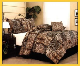 Leopard Tiger Giraffe Print Comforter Set Queen Brown