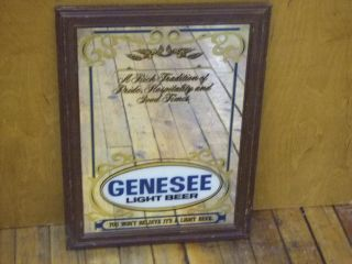 Genesee Light Beer Bar Mirror Sign Vintage Wood Frame