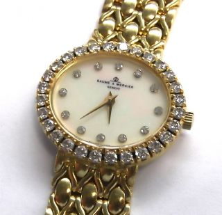 LADIES BAUME MERCIER 750 18K SOLID GOLD DIAMOND GENEVE SWISS WATCH