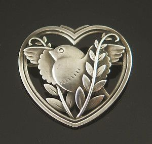 Georg Jensen Bird Heart Sterling Vintage Brooch Arno Malinowski