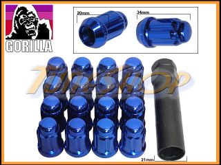 16 Gorilla Spline Tuner Lock Lug Nut 12x1 5 1 5 Acorn Wheels Rims Blue