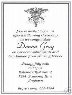 20 Graduation Party Invitations Nursing Nurse Caduceus