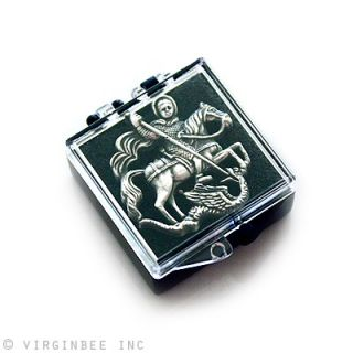 GEORGE ON HORSE SLAYING DRAGON CHRISTIAN ART SILVER LAPEL PIN GIFT BOX