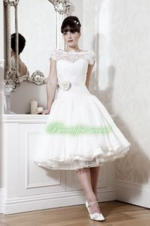 Sleeves Lace Puffy White Wedding Dress Bride Ball Gown Custom