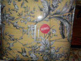 LAUREN KING SZ COMFORTER YELLOW GRAY FLOWERS GRAND ISLE STRIPED BACK