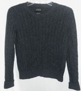 George Sleek and Warm 100 Cashmere Cable Knit Gray Crew Neck Sweater L