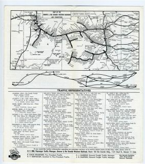 Rio Grande Railroad Time Table and Route Map 1962