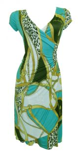 Choc Teal Glamour Print Cap Sleeve Faux Wrap Day Dress Size 12 New