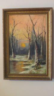 Vintage Moonlit Snowy Landscape Original Oil Painting Signed HG Circa